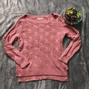 Maurice's pinkish mauve cable knit weather size M